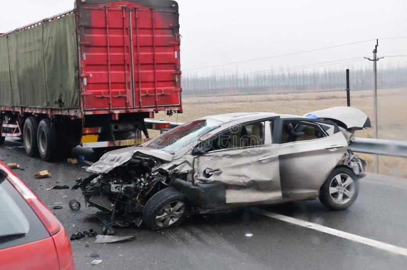 高速公路交通事故 免版税库存照片