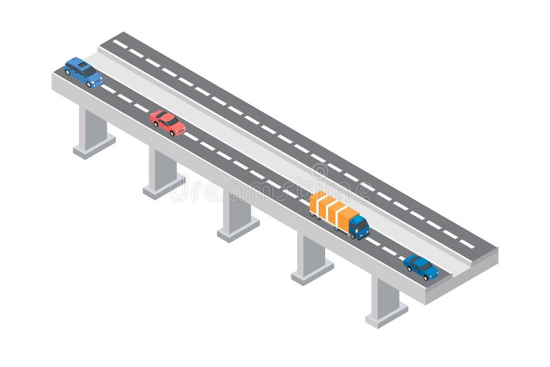 高速公路交通 有汽车和卡车的高速公路运输 平的3d传染媒介等量例证-传染媒介 库存例证