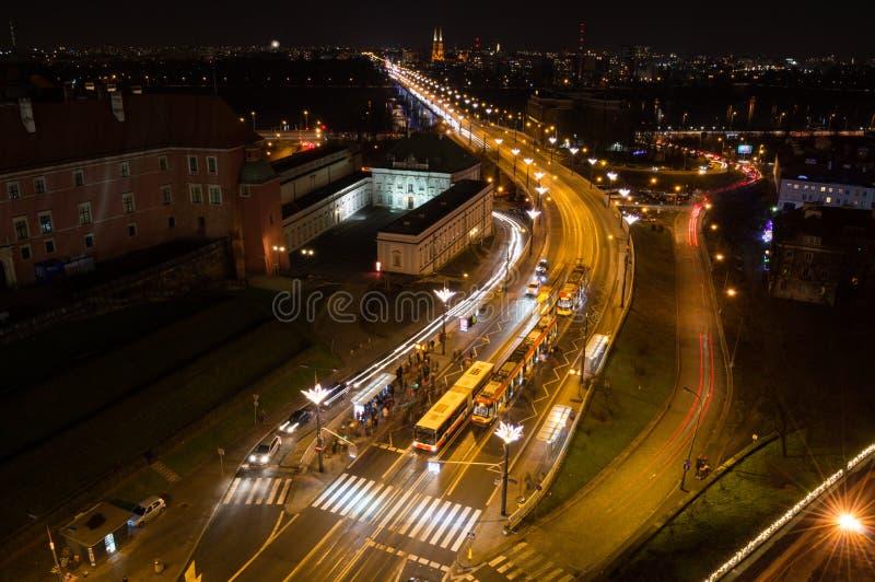 高速公路在华沙,波兰在晚上 免版税库存照片