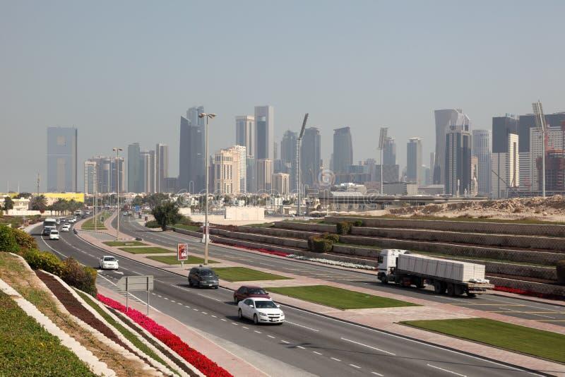 高速公路在多哈,卡塔尔 图库摄影