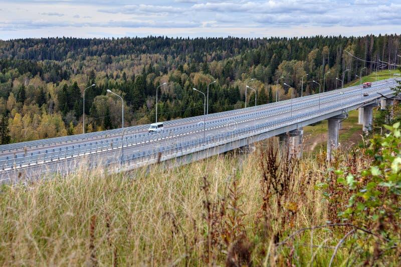高速公路在森林小河的桥梁高架桥在俄国国家 库存图片