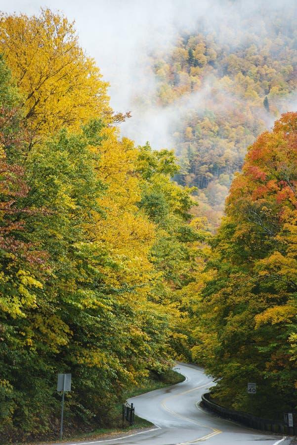 高速公路在秋天 免版税库存图片