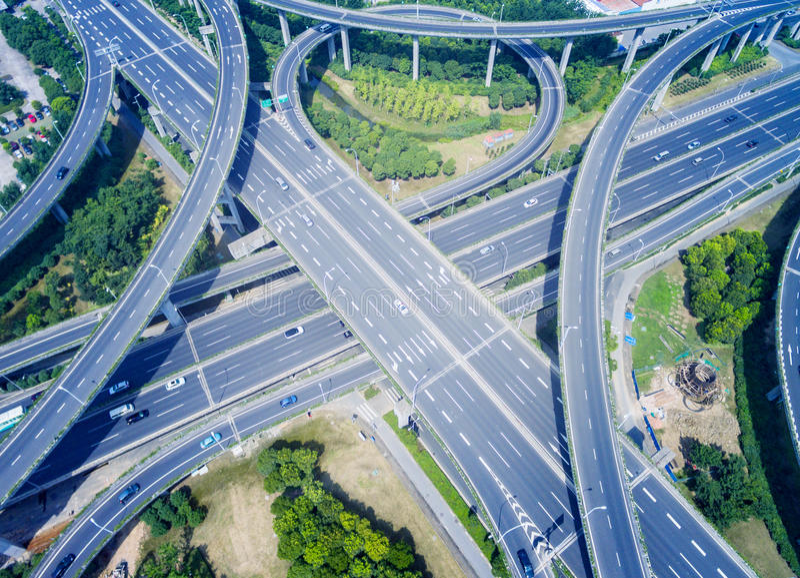 高速公路天桥鸟瞰图  库存图片