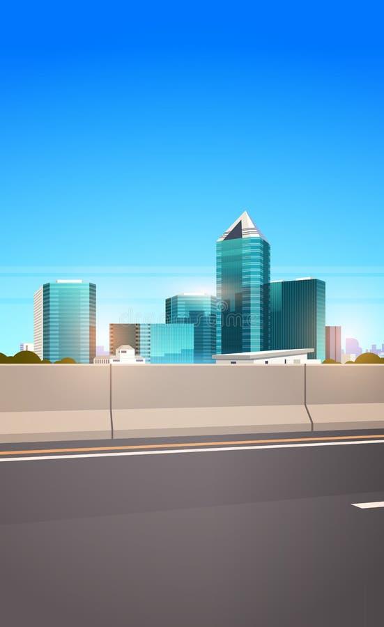 高速公路有爽朗城市地平线现代摩天大楼都市风景背景平的垂直的柏油路 皇族释放例证