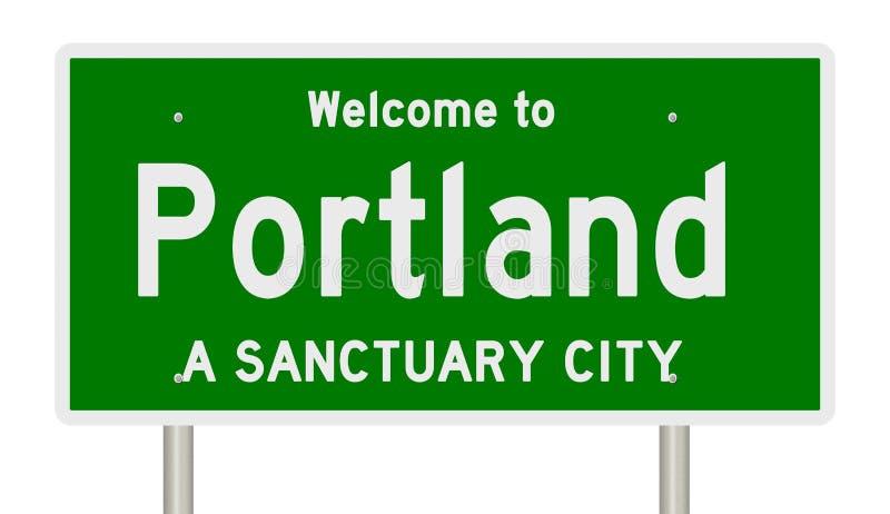 高速公路标志翻译圣所城市的波特兰 向量例证