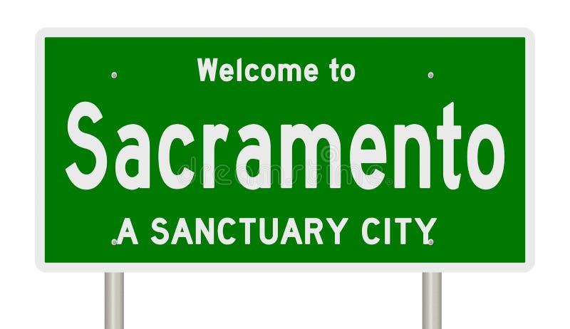 高速公路标志翻译圣所城市的萨加门多 皇族释放例证