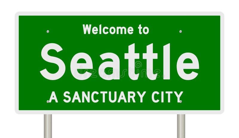 高速公路标志翻译圣所城市的西雅图 皇族释放例证
