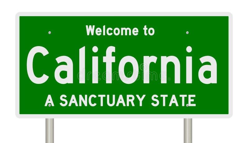 高速公路标志翻译圣所状态的加利福尼亚 库存例证