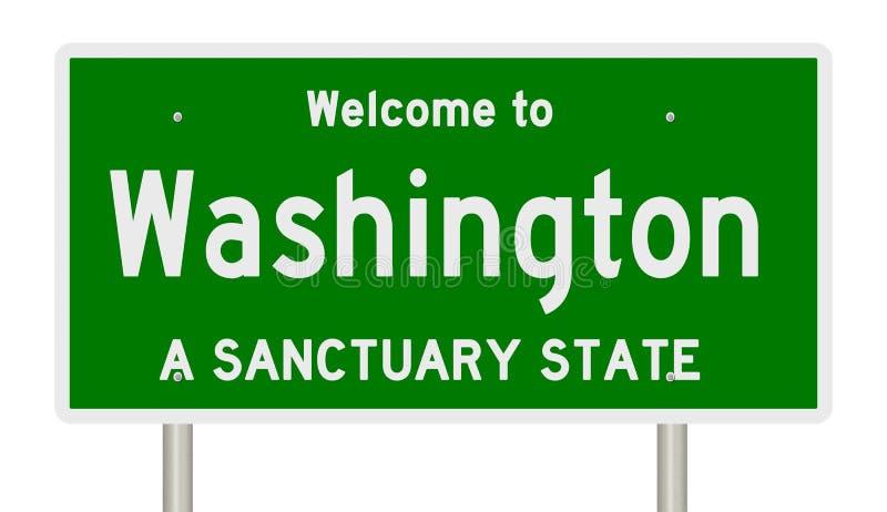 高速公路标志翻译圣所状态的华盛顿 库存例证