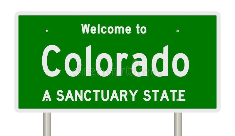 高速公路标志翻译圣所状态的科罗拉多 向量例证
