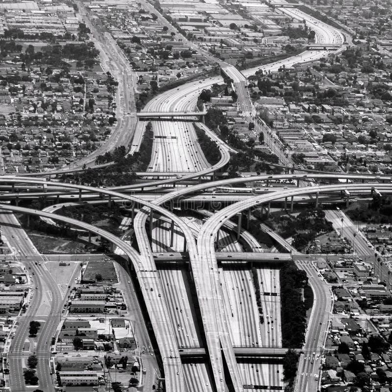 高速公路横穿在洛杉矶 库存照片
