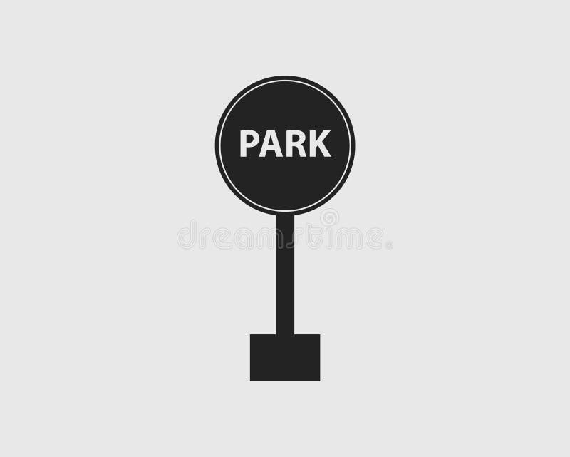 高速公路的被环绕的公园标志有灰色背景 向量例证