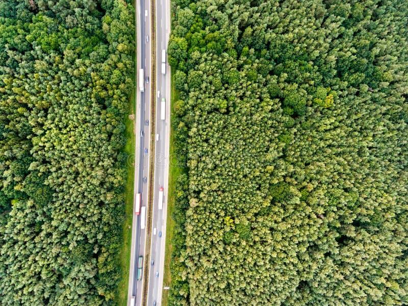 高速公路,交通堵塞,绿色森林,荷兰鸟瞰图  免版税图库摄影