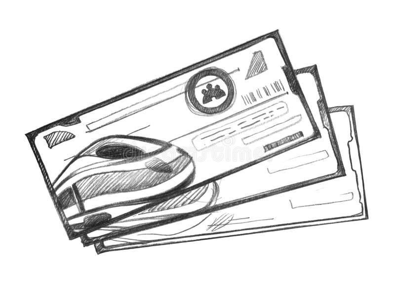 高速列车的三张票 向量例证