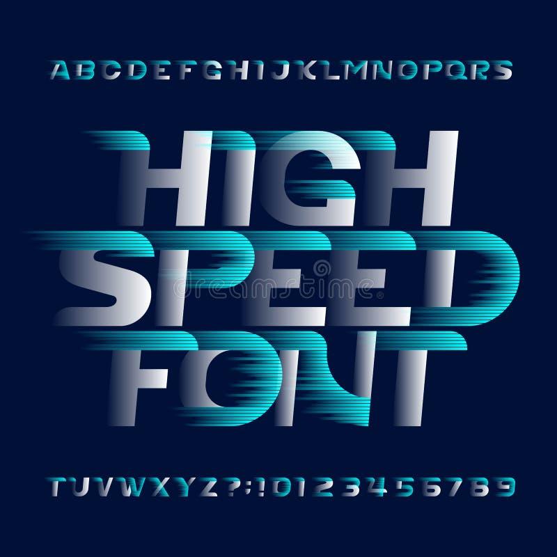高速字母表字体 快速的风效应现代类型信件和数字 皇族释放例证