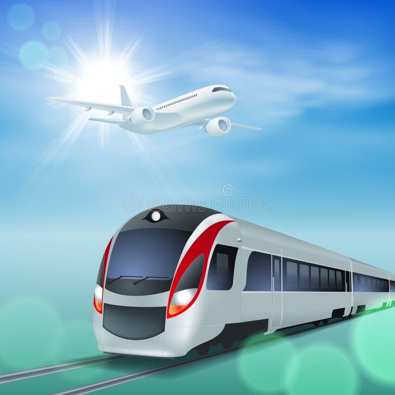 高速火车和飞机在天空。 皇族释放例证