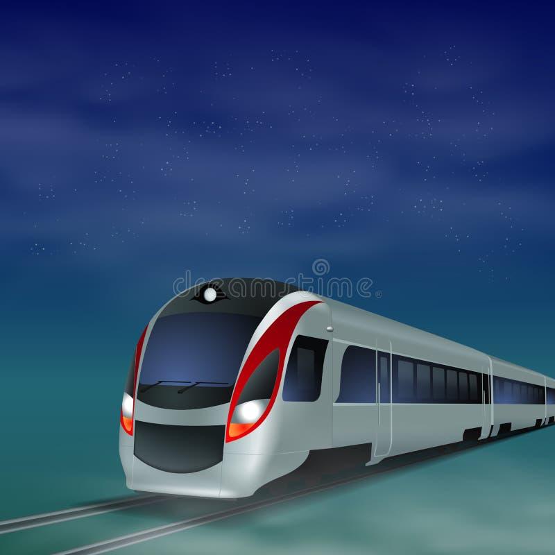 高速火车在晚上。 向量例证