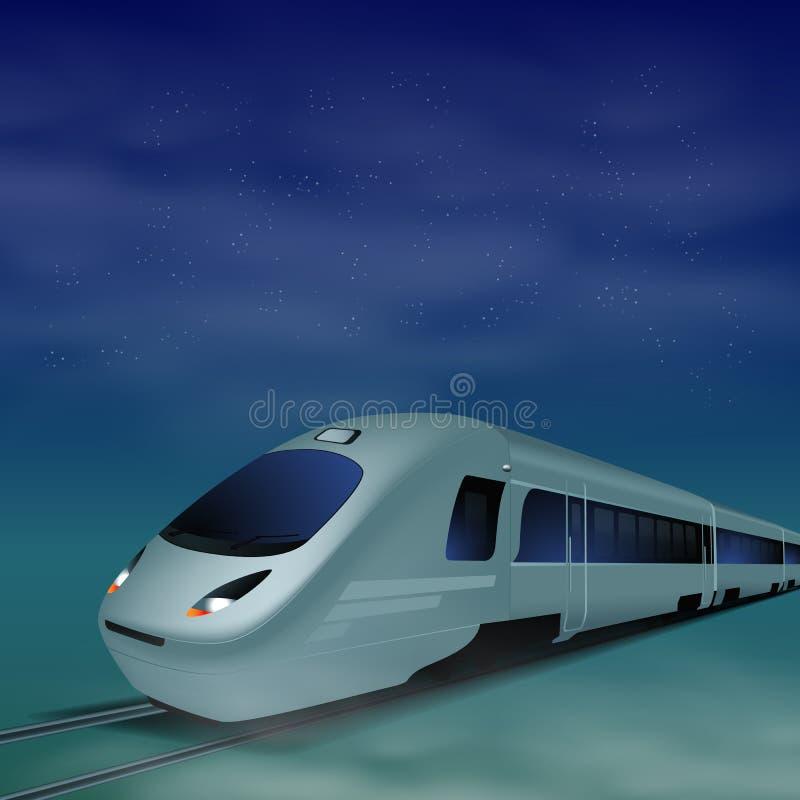 高速火车在晚上 皇族释放例证