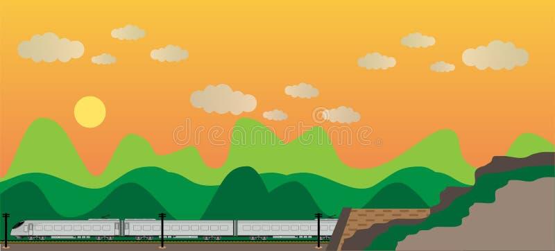 高速火车有山景 库存例证