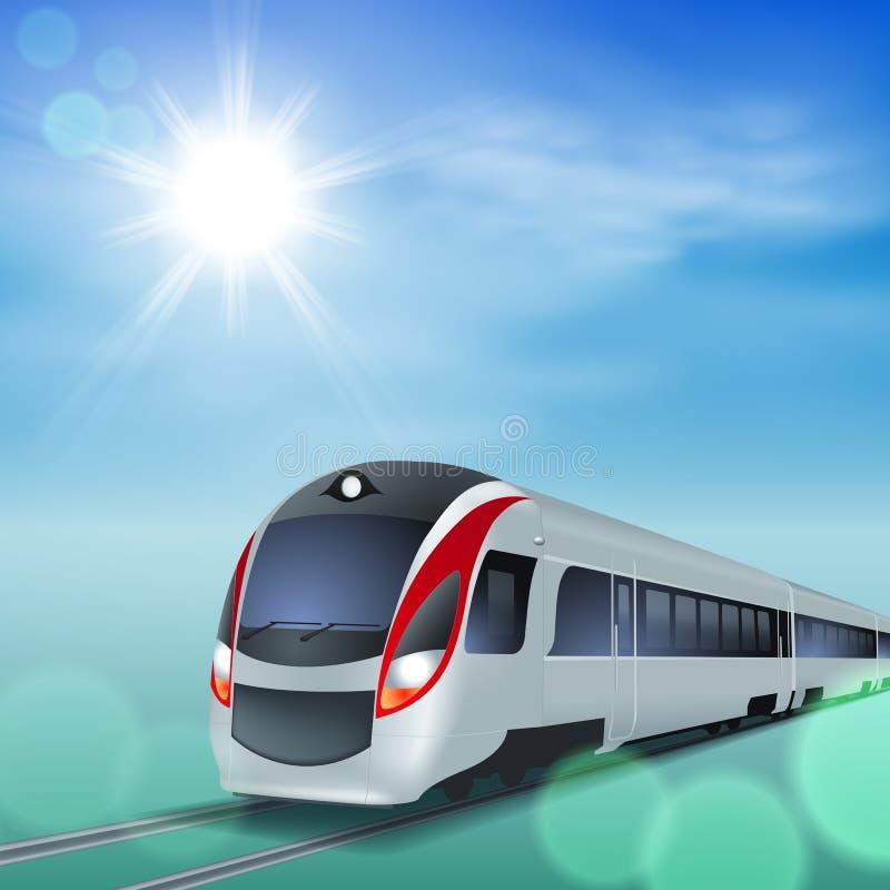 高速火车晴天。 向量例证