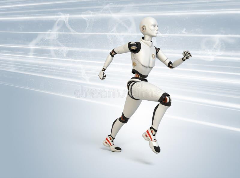高速运行的机器人 皇族释放例证