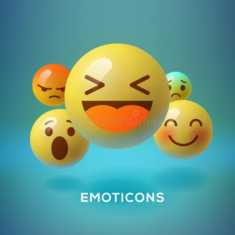 兴高采烈的意思号, emoji,社会媒介概念 向量例证