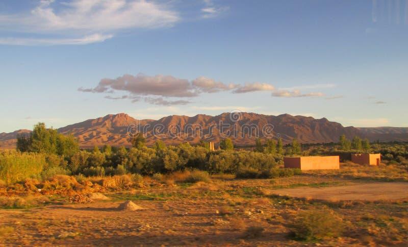 高阿特拉斯山脉视图在日落光的摩洛哥 库存图片