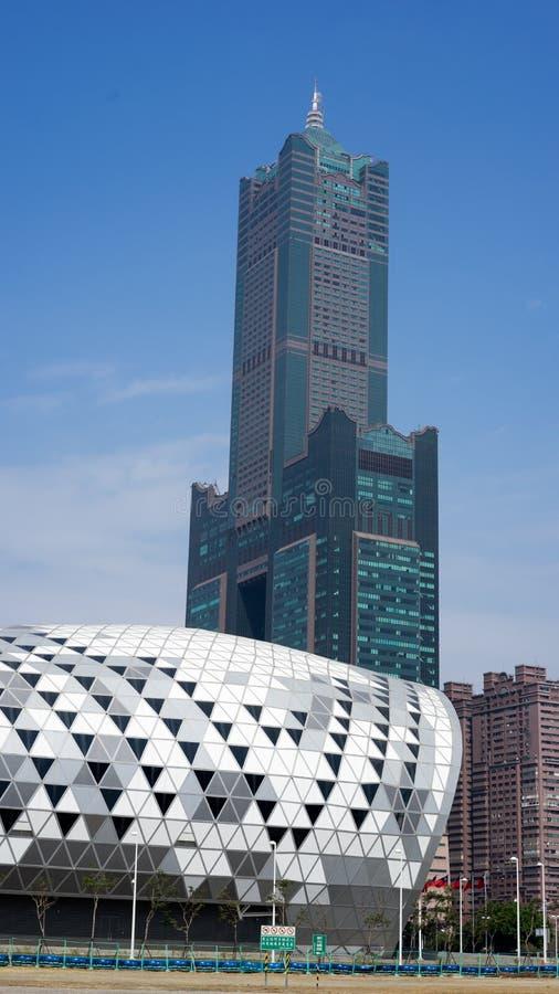 高雄会展中心和85个地板大厦 库存照片