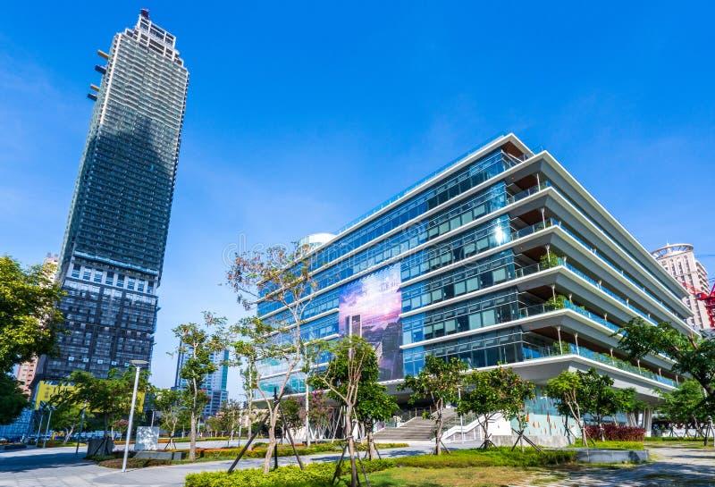 高雄公开中央图书馆位于在亚洲新的湾区 库存照片
