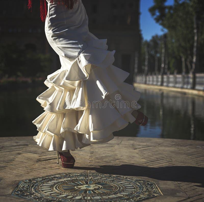 年轻高雅佛拉明柯舞曲舞蹈家 免版税库存图片
