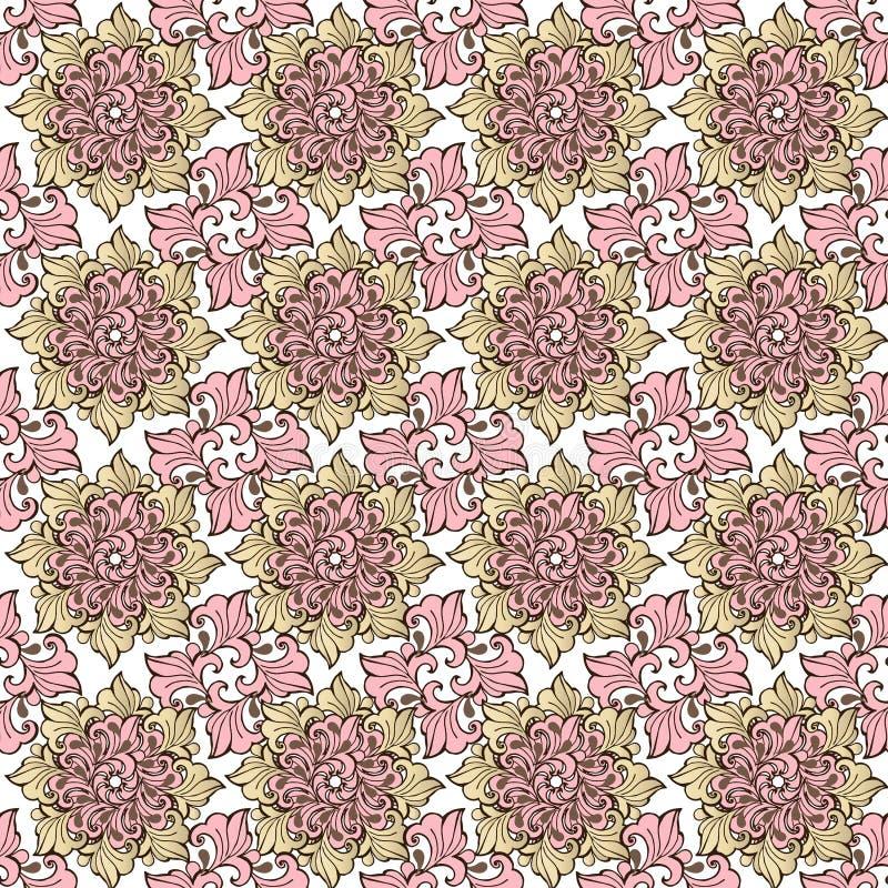 高雅无缝的样式有花卉背景 在桃红色柔和的淡色彩的装饰装饰品织品的 库存例证