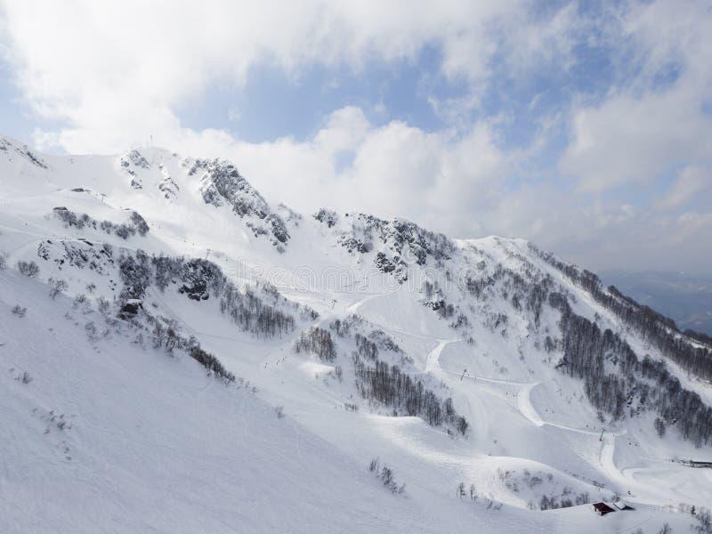 高雪峰顶在索契,俄罗斯 免版税库存照片