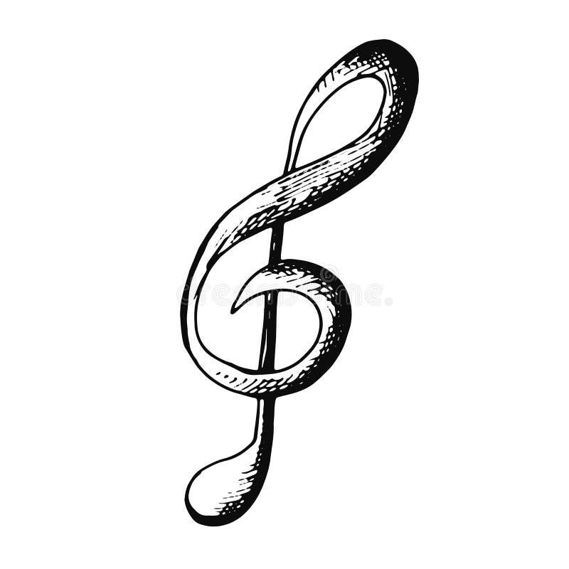 高音谱号音乐剪影象 在白色backgr的被隔绝的对象 皇族释放例证