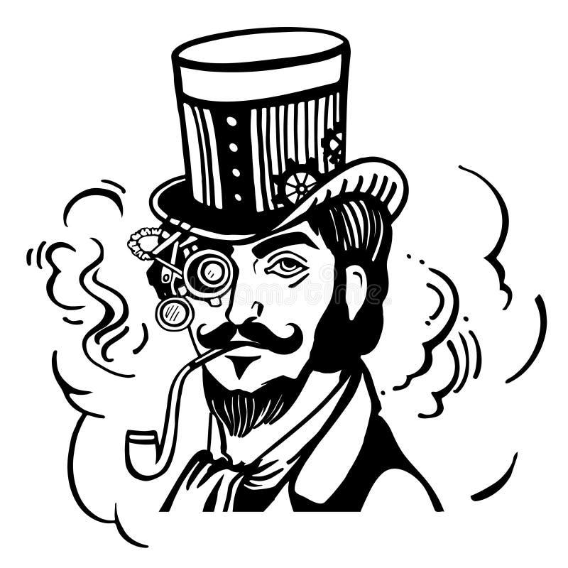 高顶丝质礼帽和玻璃的Steampunk人 皇族释放例证