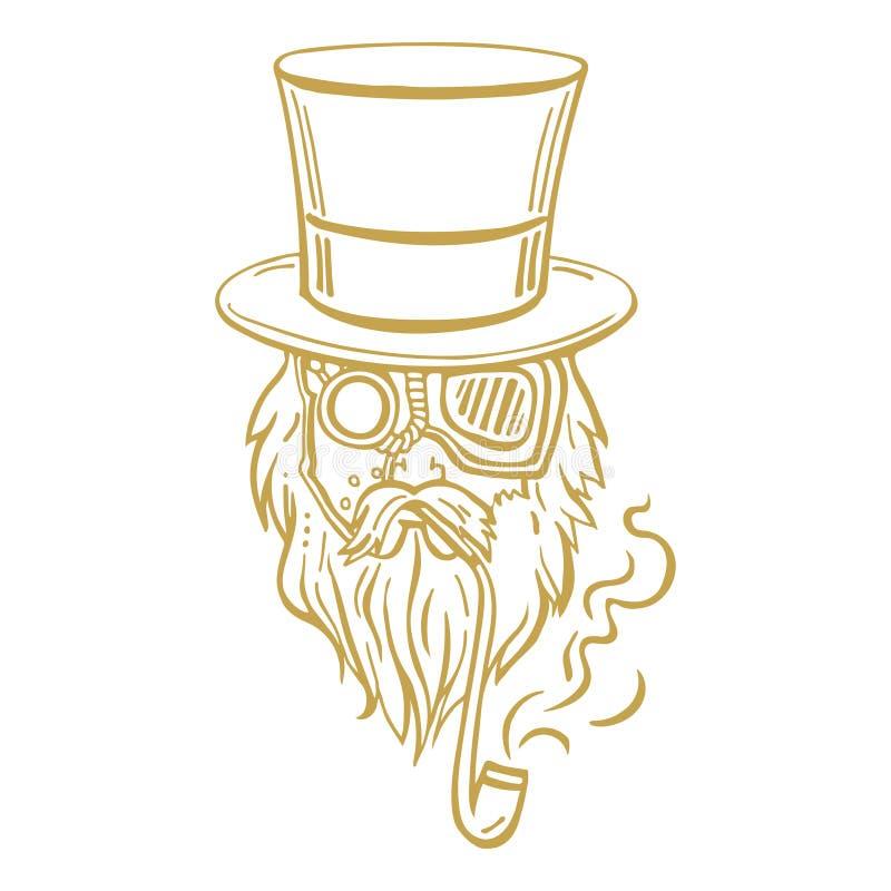 高顶丝质礼帽和玻璃的Steampunk老人与胡子 向量例证