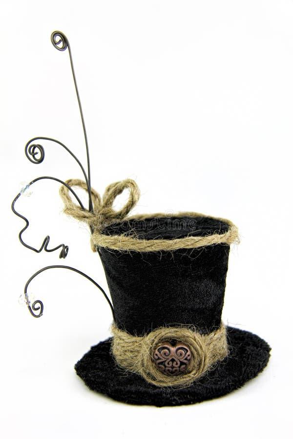 高顶丝质礼帽花梢黑色天鹅绒 库存照片