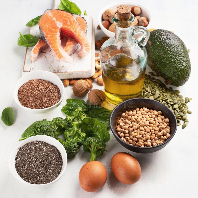 高食物在Ω 3脂肪酸 库存照片