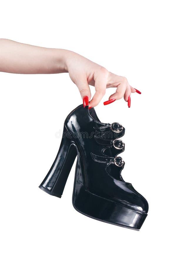 高黑色启动的脚跟 免版税库存照片