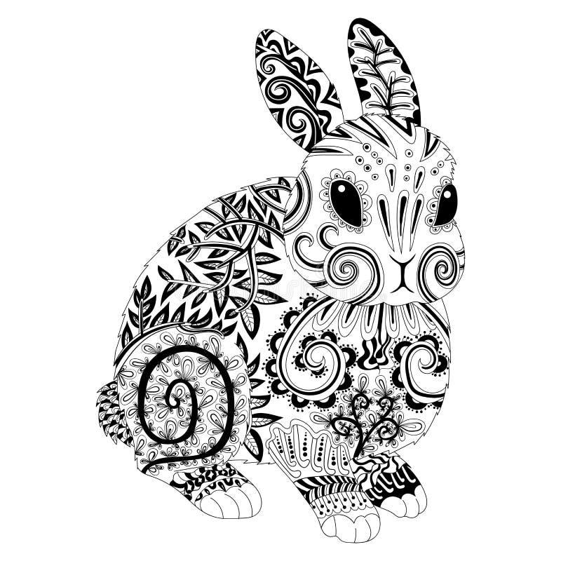 高细节在zentangle样式的被仿造的兔子 库存例证