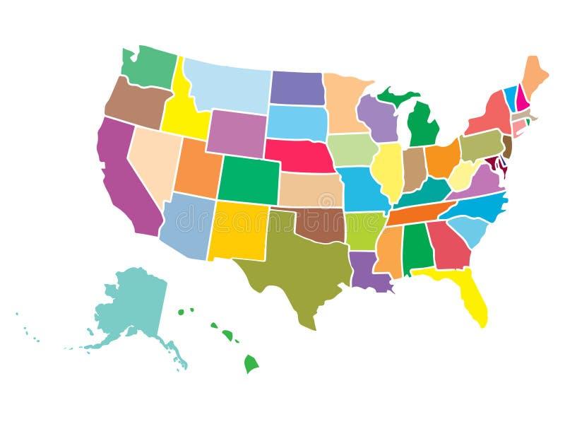 高细节美国映射用每个国家的不同的颜色 平的样式的美利坚合众国 的fed 库存例证