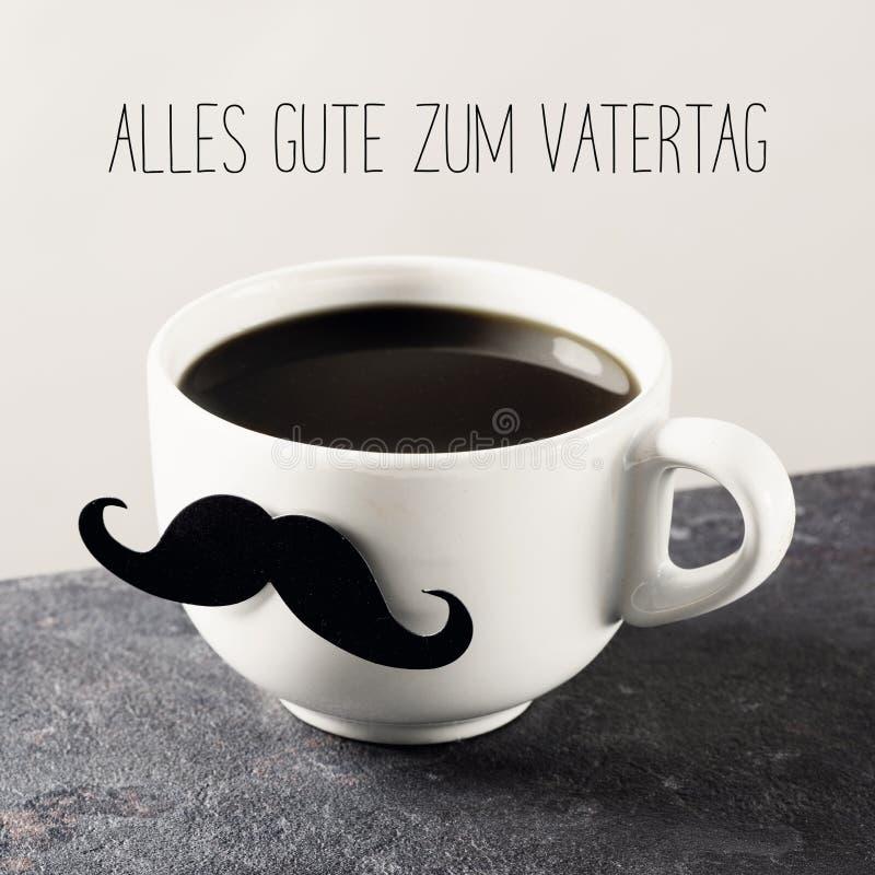 髭和文本愉快的父亲节用德语 库存照片