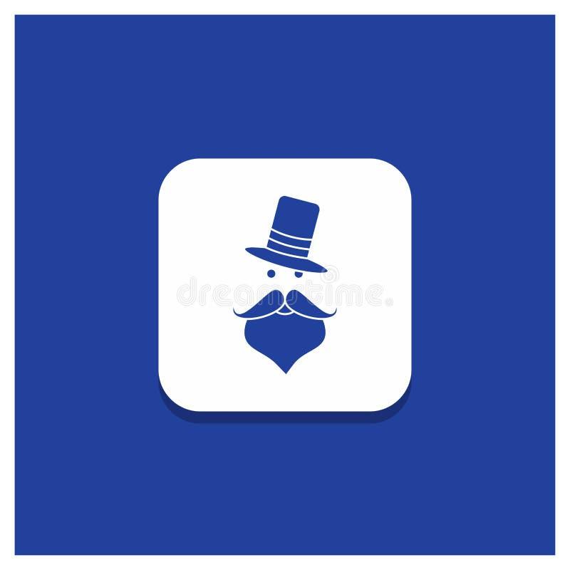 髭的,行家,movember,圣诞老人,帽子纵的沟纹象蓝色圆的按钮 皇族释放例证
