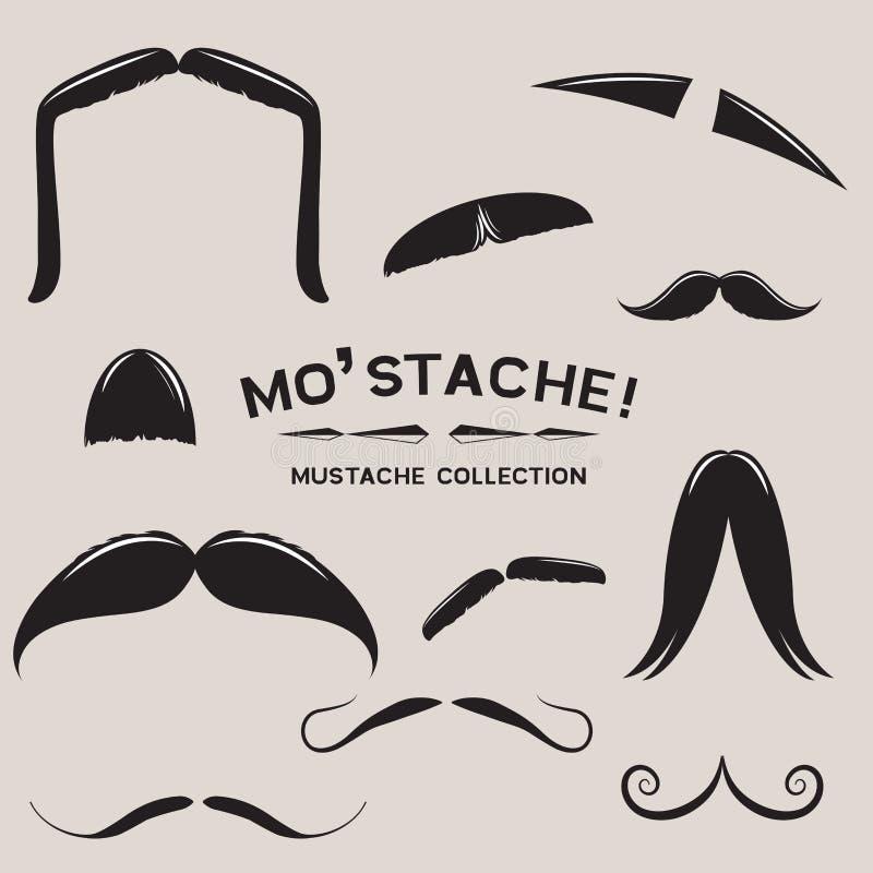 髭蓬松的大胡子集合向量 库存例证
