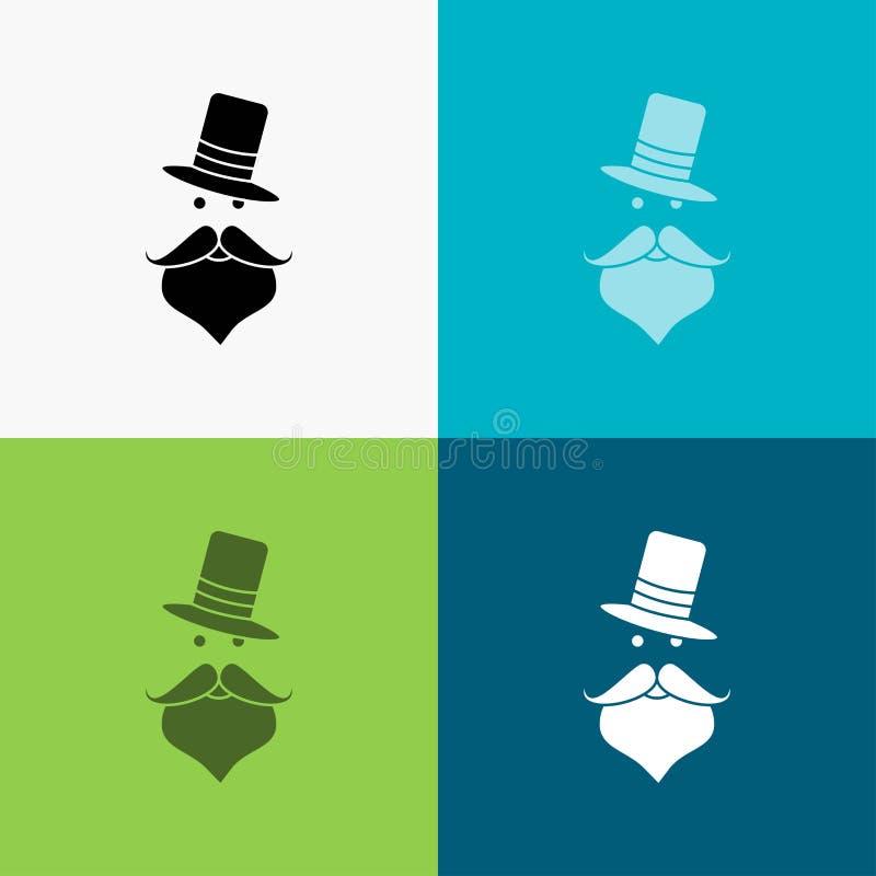 髭,行家,movember,圣诞老人,在各种各样的背景的帽子象 r 10 eps 皇族释放例证