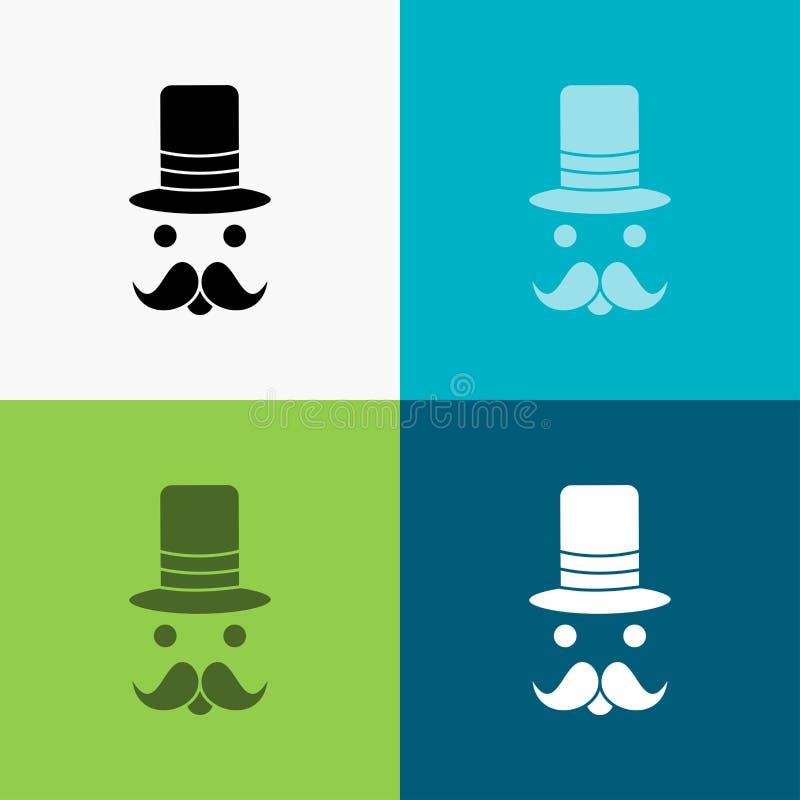 髭,行家,movember,圣诞老人,在各种各样的背景的帽子象 r 10 eps 向量例证