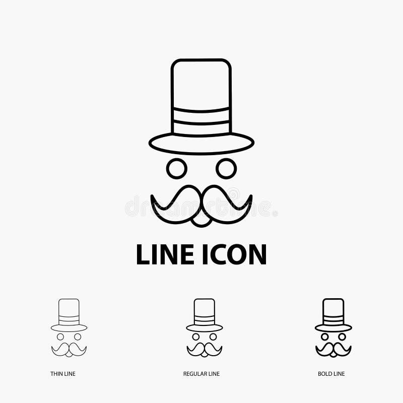 髭,行家,movember,圣诞老人,在稀薄,规则和大胆的线型的帽子象 r 皇族释放例证