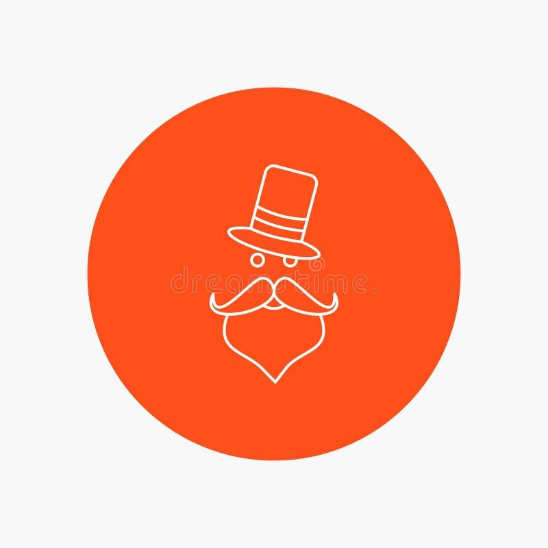 髭,行家,movember,圣诞老人,帽子空白线路象在圈子背景中 r 库存例证