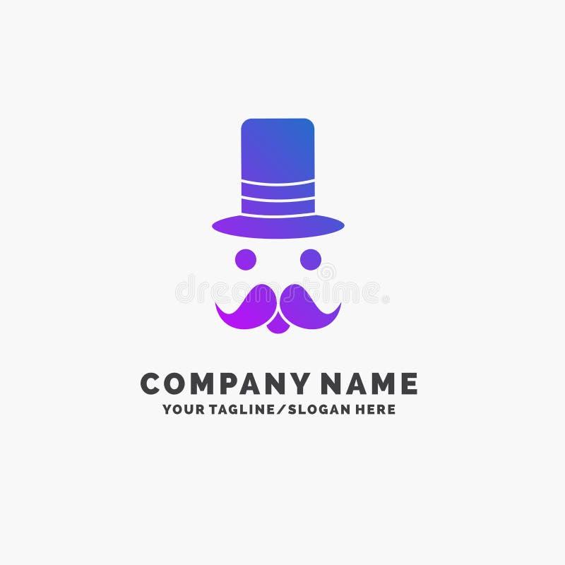 髭,行家,movember,圣诞老人,帽子紫色企业商标模板 r 皇族释放例证