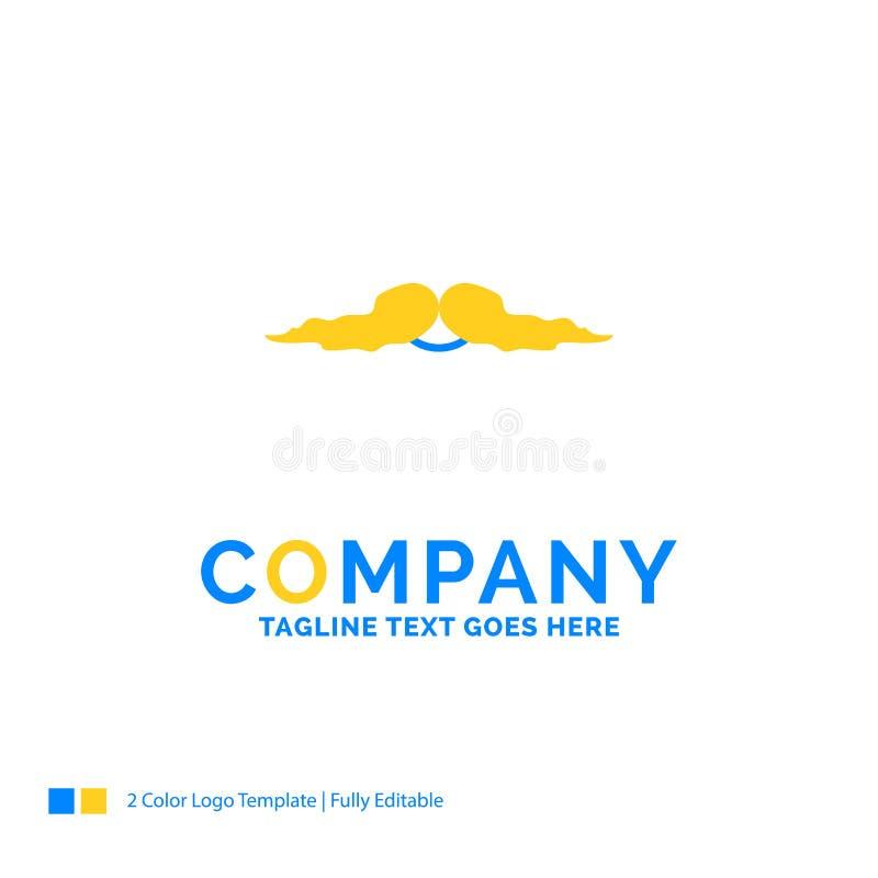髭,行家,movember,男性,人蓝色黄色企业日志 向量例证
