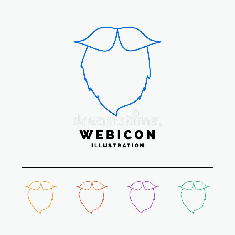 髭,行家,movember,beared,人5种族分界线网在白色隔绝的象模板 r 向量例证